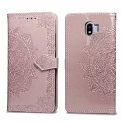 Embossing Imprint Mandala Flower Leather Wallet Case for Samsung Galaxy J4 (2018) SM-J400F - Rose Gold