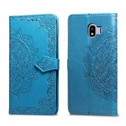 Embossing Imprint Mandala Flower Leather Wallet Case for Samsung Galaxy J4 (2018) SM-J400F - Blue