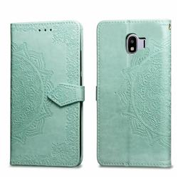 Embossing Imprint Mandala Flower Leather Wallet Case for Samsung Galaxy J4 (2018) SM-J400F - Green