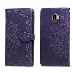 Embossing Imprint Mandala Flower Leather Wallet Case for Samsung Galaxy J4 (2018) SM-J400F - Purple