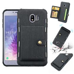 Brush Multi-function Leather Phone Case for Samsung Galaxy J4 (2018) SM-J400F - Black