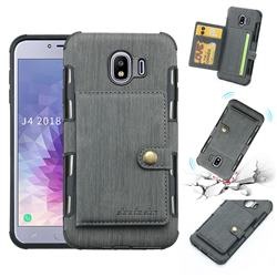 Brush Multi-function Leather Phone Case for Samsung Galaxy J4 (2018) SM-J400F - Gray