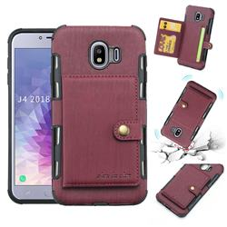 Brush Multi-function Leather Phone Case for Samsung Galaxy J4 (2018) SM-J400F - Wine Red