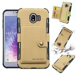 Brush Multi-function Leather Phone Case for Samsung Galaxy J4 (2018) SM-J400F - Golden