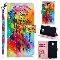Flower Wind Chimes 3D Painted Leather Phone Wallet Case for Samsung Galaxy J4 (2018) SM-J400F