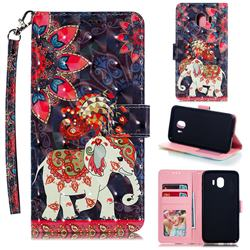 Phoenix Elephant 3D Painted Leather Phone Wallet Case for Samsung Galaxy J4 (2018) SM-J400F