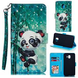 Cute Panda 3D Painted Leather Phone Wallet Case for Samsung Galaxy J4 (2018) SM-J400F