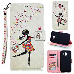 Flower Girl 3D Painted Leather Phone Wallet Case for Samsung Galaxy J4 (2018) SM-J400F