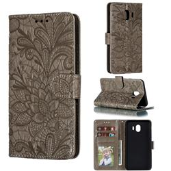 Intricate Embossing Lace Jasmine Flower Leather Wallet Case for Samsung Galaxy J4 (2018) SM-J400F - Gray