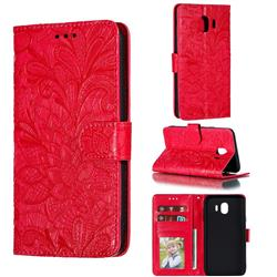 Intricate Embossing Lace Jasmine Flower Leather Wallet Case for Samsung Galaxy J4 (2018) SM-J400F - Red