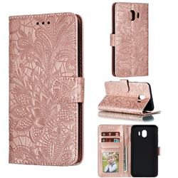 Intricate Embossing Lace Jasmine Flower Leather Wallet Case for Samsung Galaxy J4 (2018) SM-J400F - Rose Gold
