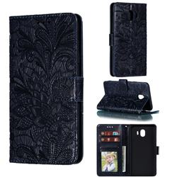 Intricate Embossing Lace Jasmine Flower Leather Wallet Case for Samsung Galaxy J4 (2018) SM-J400F - Dark Blue