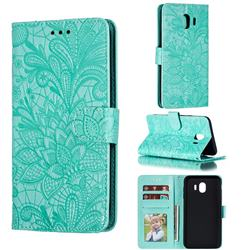 Intricate Embossing Lace Jasmine Flower Leather Wallet Case for Samsung Galaxy J4 (2018) SM-J400F - Green