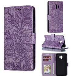 Intricate Embossing Lace Jasmine Flower Leather Wallet Case for Samsung Galaxy J4 (2018) SM-J400F - Purple