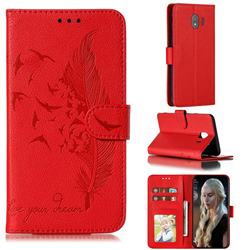 Intricate Embossing Lychee Feather Bird Leather Wallet Case for Samsung Galaxy J4 (2018) SM-J400F - Red