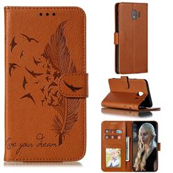Intricate Embossing Lychee Feather Bird Leather Wallet Case for Samsung Galaxy J4 (2018) SM-J400F - Brown
