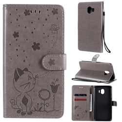 Embossing Bee and Cat Leather Wallet Case for Samsung Galaxy J4 (2018) SM-J400F - Gray