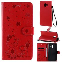 Embossing Bee and Cat Leather Wallet Case for Samsung Galaxy J4 (2018) SM-J400F - Red