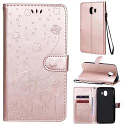 Embossing Bee and Cat Leather Wallet Case for Samsung Galaxy J4 (2018) SM-J400F - Rose Gold
