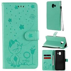 Embossing Bee and Cat Leather Wallet Case for Samsung Galaxy J4 (2018) SM-J400F - Green