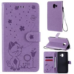 Embossing Bee and Cat Leather Wallet Case for Samsung Galaxy J4 (2018) SM-J400F - Purple