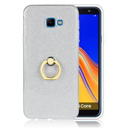 Luxury Soft TPU Glitter Back Ring Cover with 360 Rotate Finger Holder Buckle for Samsung Galaxy J4 Core - White