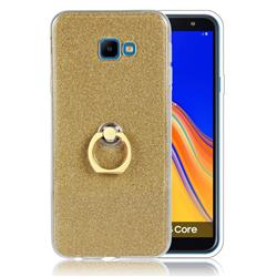 Luxury Soft TPU Glitter Back Ring Cover with 360 Rotate Finger Holder Buckle for Samsung Galaxy J4 Core - Golden