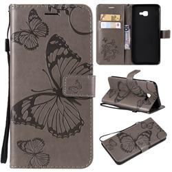 Embossing 3D Butterfly Leather Wallet Case for Samsung Galaxy J4 Core - Gray