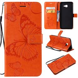 Embossing 3D Butterfly Leather Wallet Case for Samsung Galaxy J4 Core - Orange