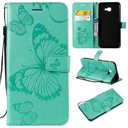 Embossing 3D Butterfly Leather Wallet Case for Samsung Galaxy J4 Core - Green