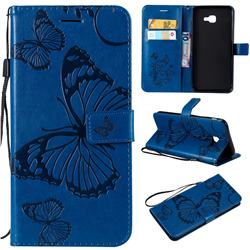 Embossing 3D Butterfly Leather Wallet Case for Samsung Galaxy J4 Core - Blue