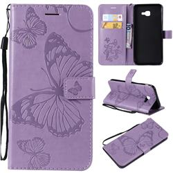Embossing 3D Butterfly Leather Wallet Case for Samsung Galaxy J4 Core - Purple