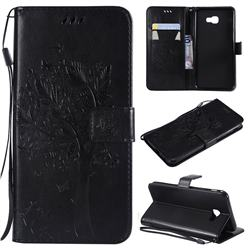 Embossing Butterfly Tree Leather Wallet Case for Samsung Galaxy J4 Core - Black