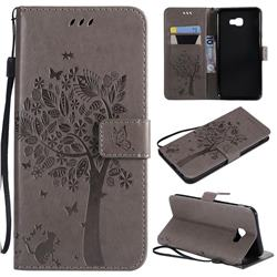 Embossing Butterfly Tree Leather Wallet Case for Samsung Galaxy J4 Core - Grey