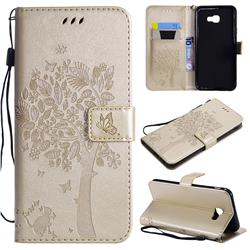 Embossing Butterfly Tree Leather Wallet Case for Samsung Galaxy J4 Core - Champagne