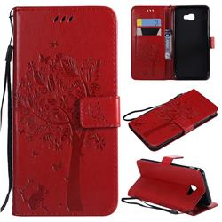 Embossing Butterfly Tree Leather Wallet Case for Samsung Galaxy J4 Core - Red