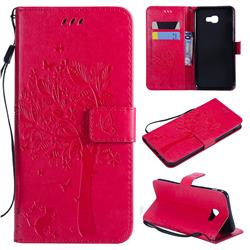 Embossing Butterfly Tree Leather Wallet Case for Samsung Galaxy J4 Core - Rose
