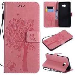 Embossing Butterfly Tree Leather Wallet Case for Samsung Galaxy J4 Core - Pink