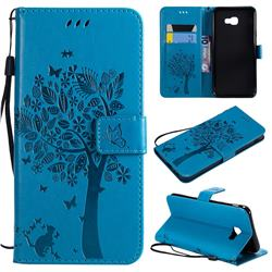 Embossing Butterfly Tree Leather Wallet Case for Samsung Galaxy J4 Core - Blue