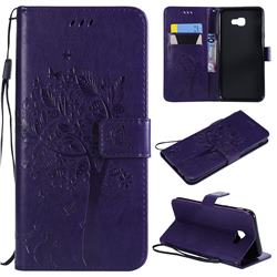 Embossing Butterfly Tree Leather Wallet Case for Samsung Galaxy J4 Core - Purple