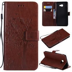 Embossing Butterfly Tree Leather Wallet Case for Samsung Galaxy J4 Core - Coffee