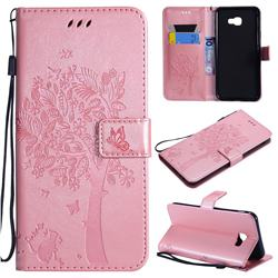 Embossing Butterfly Tree Leather Wallet Case for Samsung Galaxy J4 Core - Rose Pink