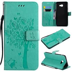 Embossing Butterfly Tree Leather Wallet Case for Samsung Galaxy J4 Core - Cyan