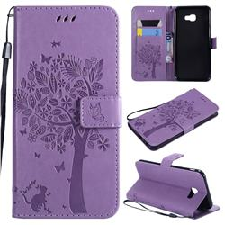 Embossing Butterfly Tree Leather Wallet Case for Samsung Galaxy J4 Core - Violet
