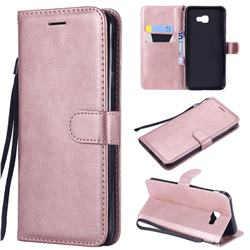 Retro Greek Classic Smooth PU Leather Wallet Phone Case for Samsung Galaxy J4 Core - Rose Gold