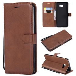 Retro Greek Classic Smooth PU Leather Wallet Phone Case for Samsung Galaxy J4 Core - Brown