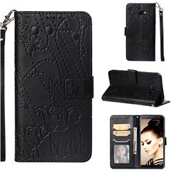Embossing Fireworks Elephant Leather Wallet Case for Samsung Galaxy J4 Core - Black