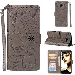 Embossing Fireworks Elephant Leather Wallet Case for Samsung Galaxy J4 Core - Gray