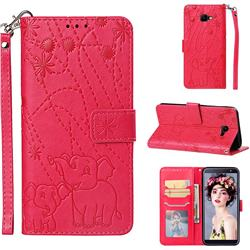Embossing Fireworks Elephant Leather Wallet Case for Samsung Galaxy J4 Core - Red