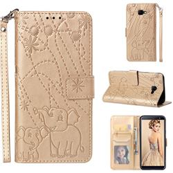 Embossing Fireworks Elephant Leather Wallet Case for Samsung Galaxy J4 Core - Golden